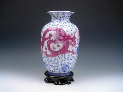 Blue&White Porceain Ox-Blood Red 2 Dragons Hand Painted Vase w/ Stand #02032001