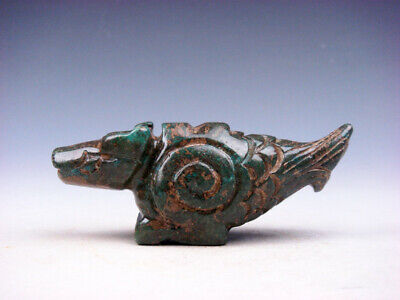 Old Nephrite Jade Stone Carved Sculpture Ancient Monster w/ Fish Tail #02172001