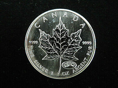 1999 - 2000 $5 Fine 1 oz Silver Maple Leaf Coin Fireworks Privy Dual Date 9999