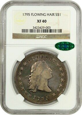 1795 Flowing Hair $1 NGC/CAC XF40 (3 Leaves) Beautiful XF! - Bust Silver Dollar