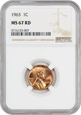 1963 1c NGC MS67 RD - Lincoln Memorial Small Cents (1959-2008)