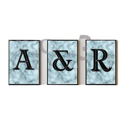 Letter Prints Bedroom Living Room Initials Home Decor Unique Marble Effect A3