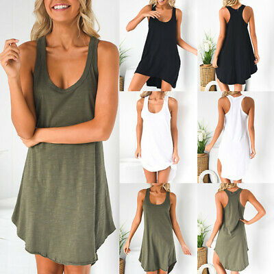 UK Womens Ladies Plain Cotton Vest Top Summer Sleeveless Vest Maxi Shirt Dress