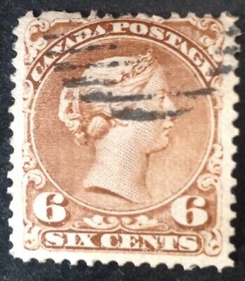 Canada 1868 6 Cents Brown Stamp Vfu