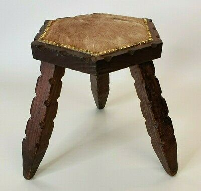 Vintage 3 Legged Rustic Wooden Animal Hide Stool - Hexagonal Milking Stool