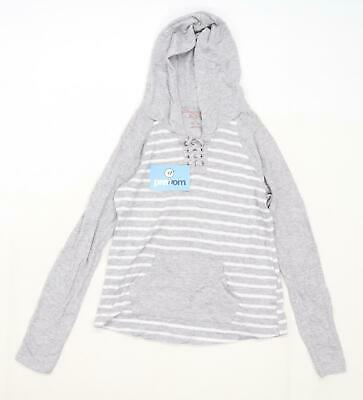 Abercrombie Girls Striped Grey Hoodie Age 11-12