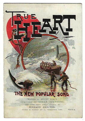 1889 Liverpool theatre flyer in form of minature sheet music with lifeboat cover