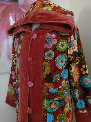 Uttam London girls red velvet coat - Age 4-5 Quirky Floral Sequins