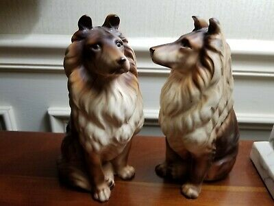 Lifelike Sitting Collie Dogs Ceramic Brown White , 7 3/4 in. tall, matching Pair