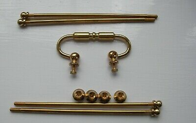 Vintage Clock parts, solid brass ( handle, feet,rods and top nuts)