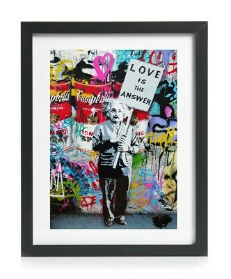 Banksy Style Einstein Love is Answer A4 Wall Art Graffiti Print Mr Brainwash