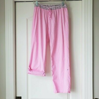 Victorias Secret Convertible Roll Up Tab Pajama Lounge Pants Pink Cotton SMALL