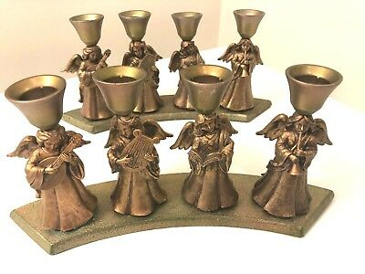 Vintage  Brass Copper Angels Candle Holder_ Set of 2
