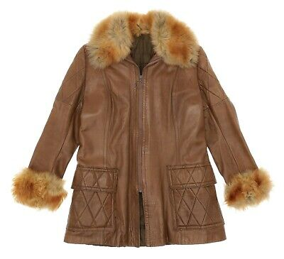 VINTAGE FUR Jacket Small Womens LAMBSKIN Leather Faux Fur PRINCESS Quilted Coat