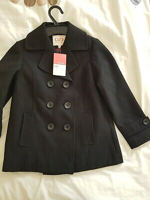 M&S Girls black  School Pea Coat 7-8 BNWT