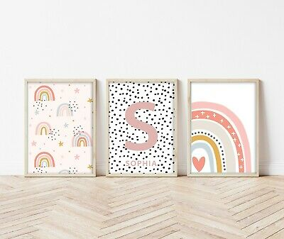 3 Rainbow Personalised Prints Nursery Wall Art Decor Girls Pictures