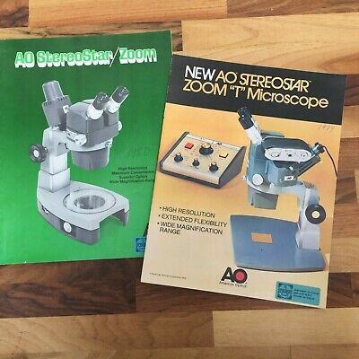 American Optical AO Stereostar Zoom Microscope brochures Four Documents