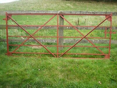 Antique  9ft Farm Gate 18th century.Blacksmith   hand- riveted,wrought iron