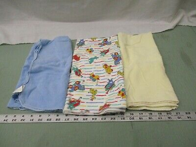 Unbranded Lot of 3 Baby Swaddle Receiving Blankets Infant Blue Yellow Animals