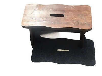 Vintage Antique Rustic Small Primitive Wooden Step Stool Coffee Table Handle