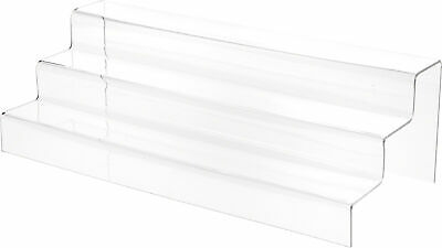 """Plymor Clear Acrylic 3-Step Solid Back Display Stairs, 5.5"""" H x 18"""" W x 8"""" D"""