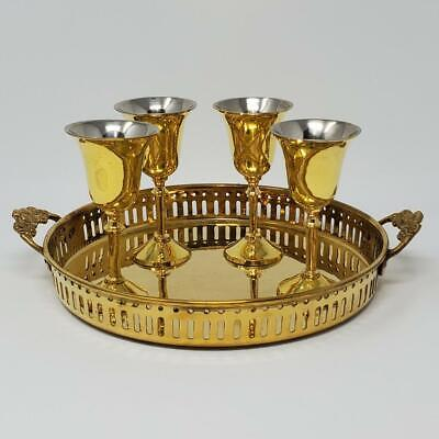 """Vintage 8"""" Brass Tray With Four 4"""" Cordial Glasses Cups India Gold Silver (a14)"""