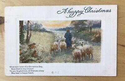 Vintage Christmas Tuck Oilette Postcard with Artificial Snow