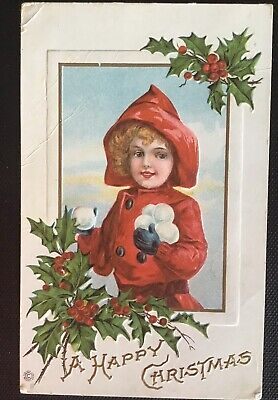 Vintage Stecher Christmas Postcard - Girl with Snowballs & Holly