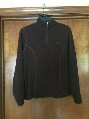 The North Face Women's 1/4 Zip L/S Brown Fleece Pullover Size Large FAST SHIP