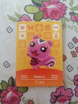 Peanut 095 - Official Animal Crossing Amiibo Card Series 1 Unscanned New Horizon