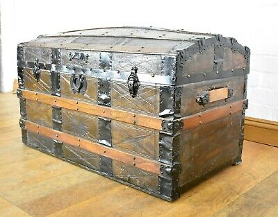 Antique domed top travelling trunk - ottoman - chest - blanket box