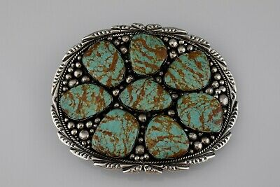 Native American Sterling Silver Pilot Mountain Turquoise Large Belt Buckle