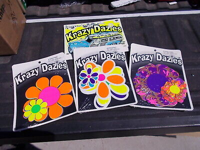 3 Vintage KRAZY DAZIES Hippie Peace Flower Child Flowers Surfer Home Car Decor