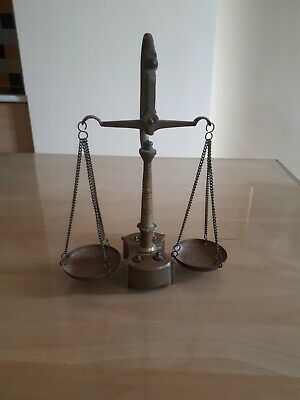 Vintage Brass Scale For Gold  Complete With Weights