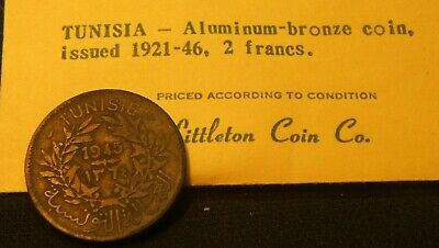 1945 ~~ Tunisia ~~ 2 Francs Coin ~~  Littleton Pkg