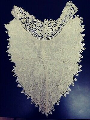 Antique Lace Bib Insert  Lined With Silk High Collar