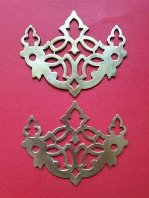 Pair Antique Reclaimed Brass Fretwork Drawer Handle Backplates Escutcheons