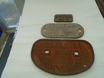 Collection of antique cast iron signs  E PAGE & CO  Railway wagon plates?  LOOK