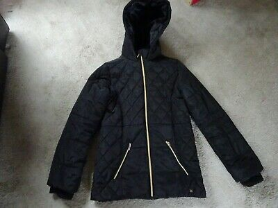 River Island Padded Girl's Black Coat/Jacket 11-12 Years In Very Good Condition