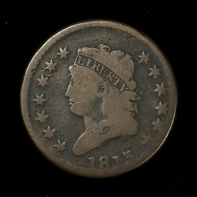 1813 CLASSIC HEAD 1C LARGE CENT ** VG COIN! EARLY AMERICAN COPPER Lot#X263