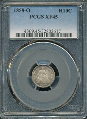 1858-O Seated Liberty Half Dime PCGS XF 45 *Underlying Mint Luster Is Visible*
