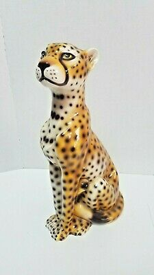 Vintage Hand Painted Cheetah Leopard Cat Made In Italy Statue Figure Sculpture