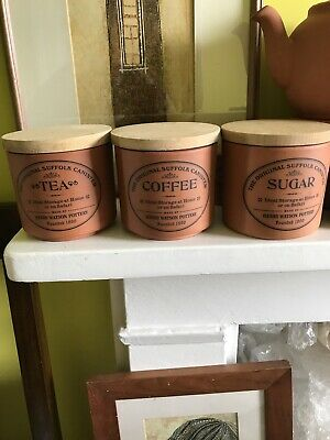 Henry Watson Pottery The Original Suffolk Pottery Canister - Tea, Coffee, Sugar