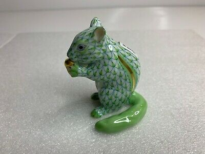 Herend Chipmunk with Acorn Figurine Lime Fishnet 16023