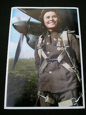 Foto Poster WWII Maria Dolina Russian army pilot and Hero of the Soviet Union