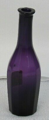 Antique Blown Mold Paneled Commercial Amethyst Glass Cologne Bottle