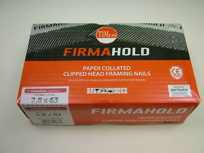1st fix collated nails 63mm x2.8 box 1100 galvanised Firmahold brand fit Paslode