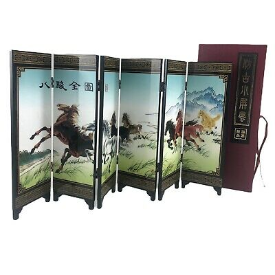 Chinese Lacquer Miniature 6 Panel Screen Divider 18 x 9 Small Wild Horses Theme