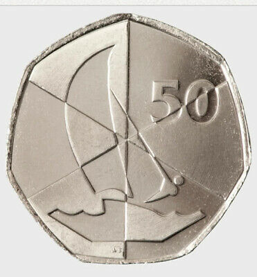 GIBRALTAR 2019 UNCIRCULATED ISLAND  GAMES 50p SAILING LOGO FROM THE COLLECTION