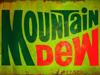 1970s MOUNTAIN DEW LOGO SODA POP HEAVY DUTY USA MADE METAL ADVERTISING SIGN